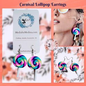 🍭🆕Carnival Lollipop Polymer Earrings!🍭